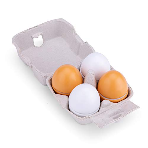 New Classic Toys 10600 Wooden Eggs-4 Pieces