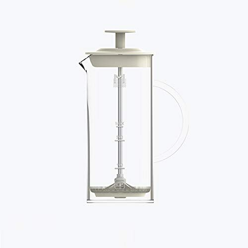 HARVESTFLY Melkschuim, Borosilicaatglas, Roestvrij stalen filter - 0,45 L, met schaal, Transparant