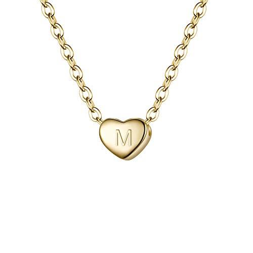 Clearine Damen Choker Halskette 925 Sterling Silber mit Buchstabe A-Z kleine Initial Herz Anhänger Kette Halsband Buchstabe M 14K Gold-Ton