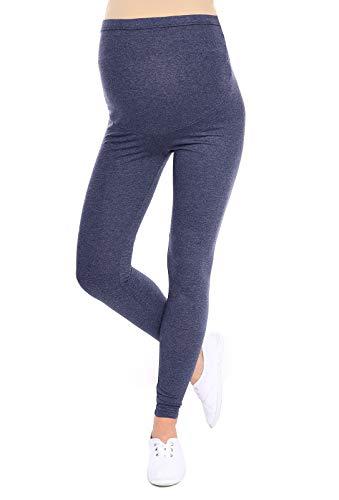 Oasi Mija Gute Qualität Umstandsleggings für Schwangere Lange Leggings/Hose 3085 (XL, Melange Blau)