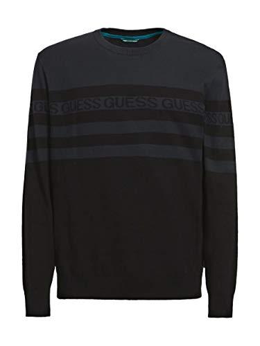 Guess Camiseta de manga larga de algodón orgánico para hombre, a rayas, color gris y azul, azul y negro Foto S