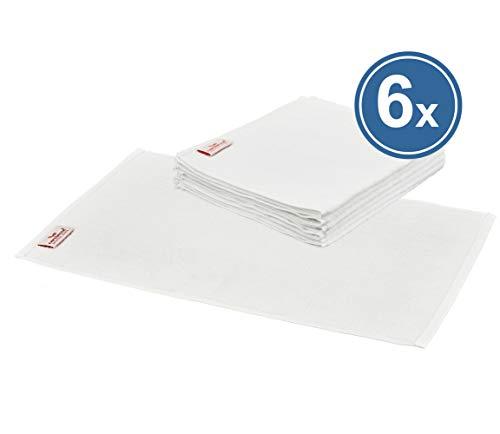 Carenesse Serviette Invité lot de 6, 30 x 50 cm, 100% coton, blanc, compresse courte, qualité professionnelle, serviette compresse, serviette invité