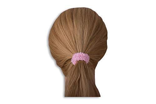 LUQX Teddy Teddy badstof vlechtstrips, pak van 5 stuks, bruin haarelastiek voor meisjes en dames roze