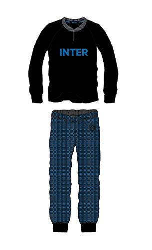 Inter Pigiama Homewear Uomo Prodotto Ufficiale Cotone Leggero Pigiama Serafino Manica Lunga e Pantalone Lungo in Diversi Colori Colori (14105 Nero, L/50)