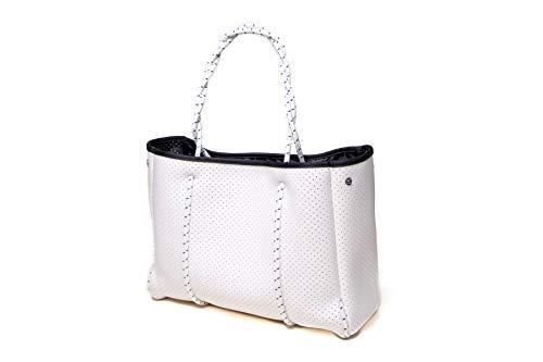 Speo Bag Tasche Damen groß 50×30 cm– Damentasche Shopper Umhängetasche aus Neopren – Tasche vegan auch perfekt als Sporttasche in Weiss