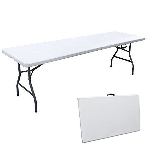 EG45064 Mesa de resina y metal, 244 x 76 cm, plegable tipo maleta para pícnic
