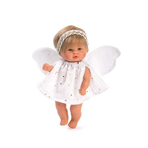 Muñecas Así Bebe Angel de la Guarda con alitas. Cuerpo articulado, Pelo Rubio y Ojos Grises. 20 cm.