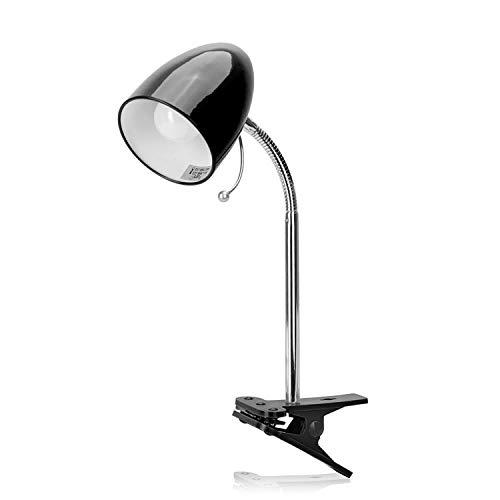 Aigostar - Flexo LED Escritorio con Pinza, E27(Max 11W), Cable 1,5 m con Interruptor, H35cm, Bombilla No Incluida, Negro