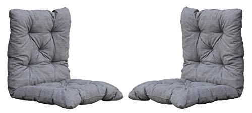 Ambientehome 2er Set Sitzkissen Auflage Sitzpolster 98x50x8 cm hellgrau