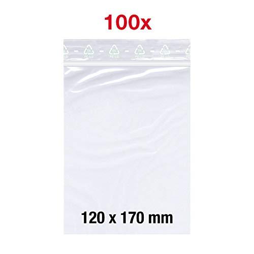 100X Druckverschlussbeutel | 120x170mm | Zip-Beutel | Gleitverschlussbeutel | Schnellverschluß Tüten | Zip Verschlussbeutel | Polybeutel | von Smart Pack™