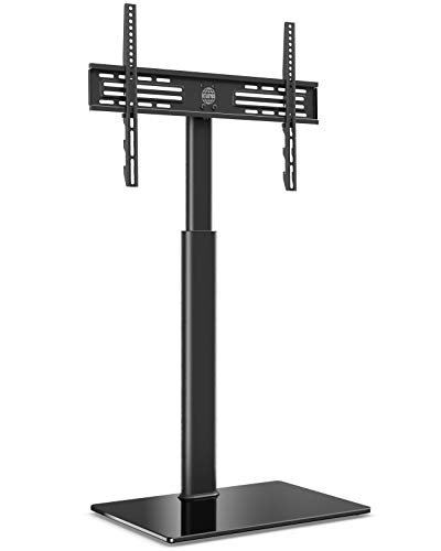 FITUEYES Soporte TV de Pie de 32 a 60 Pulgadas con Base de Vidrio Templado Soporte TV Plana Curva Giratorio 70° Altura Ajustable MAX VESA 600 x 400 mm Gestión de Cables