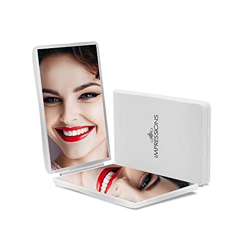 Impressions Slayssentials Miroir compact avec loupe, miroir de maquillage portable, léger et élégant (blanc)