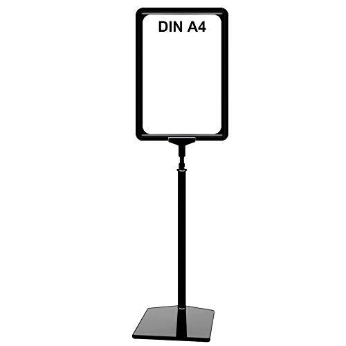 Plakatständer DIN A4 Rahmen schwarz, Ständer Kunststoff schwarz, Teleskopständer mit Fuß eckig, Kundenstopper höhenverstellbar bis 68 cm, Aufsteller