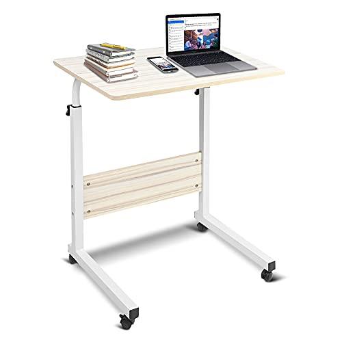 GOTOTOP Höhenverstellbarer Computertisch, Schreibtisch, Beistelltisch, Laptop-Ständer, Frühstückstablett, Laptop-Tisch mit Rollen für Bett, Sofa (weißer Ahorn)