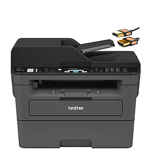 Brother MFC L2700 Series Compact Monochrome Laser All-in-One Printer - Print Copy Scan Fax - Mobile Printing - WiFi Connectivity - Auto Duplex Printing - Up to 32 Pages/Min - ADF + iCarp HDMI Cable