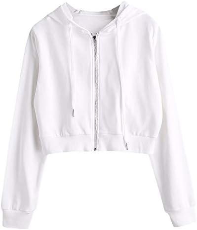 ZAFUL Women s Drawstring Zip Up Hoodie Sport Long Sleeve Crop Top Sweatshirts Coat Jacket White product image