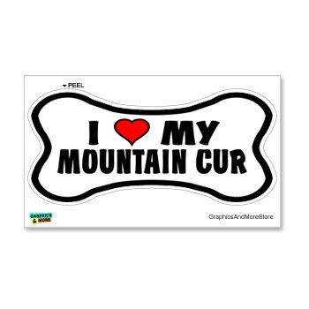 Graphics and More Mountain Cur Love My Dog Bone - Window Bumper Locker Sticker
