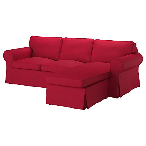 IKEA Original Ektorp Cover for Sofa with Chaise, 3-Seat Sectional (Cover Only (Nordvalla Red)