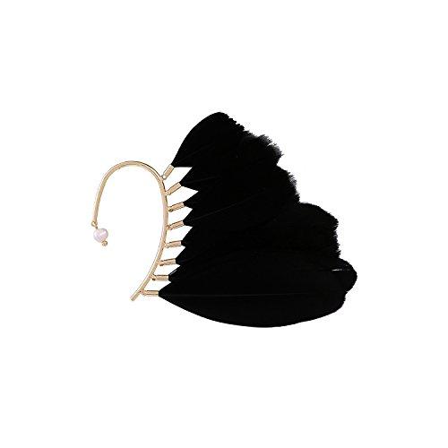 Z&HA Junge Mädchen Ohrringe Ohr Hängende Feder Persönlichkeit Mode Reisen Urlaub Übertrieben Ohrhaken Einzeln Ohne Durchbohrte Ohren Tragen,Black
