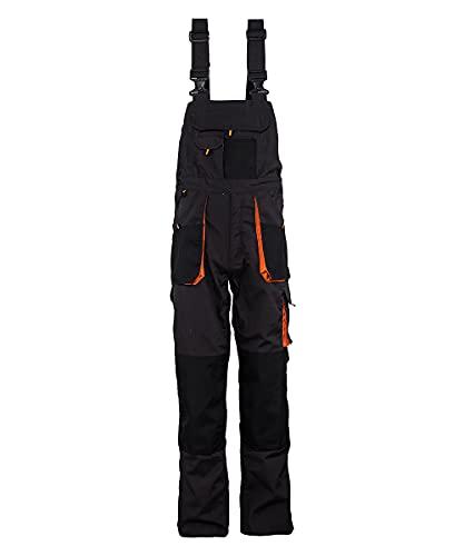 Stenso Emerton - Salopette da Lavoro Extra Resistente - Uomo - Stile Cargo - Grigio Scuro/Nero/Arancione - 46