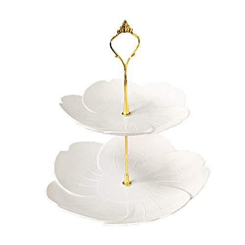 DMFSHI Bandejas para Tartas, Soporte para Tartas, 2 Niveles Decoraciones de Plástico con Forma de Flor de Cerezo para Cupcakes para Fiestas, Cumpleaños, Fiestas de Té, Boda (Blanco)
