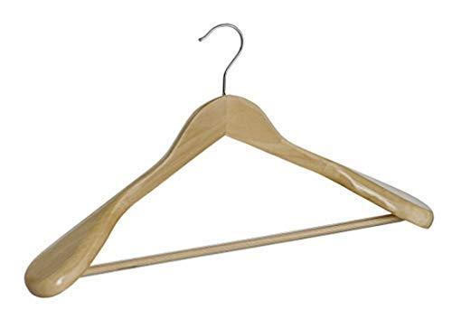 WENKO Gruccia sagomata Exclusive - gruccia appendiabiti con asta portapantaloni antiscivolo, sagomata per il corpo, ampio appoggio per le spalle, Legno, 45 x 24 x 5.5 cm, Marrone