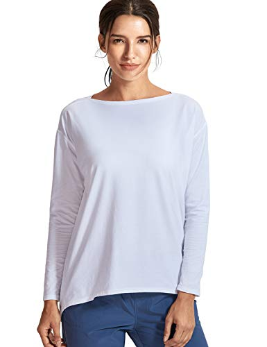 CRZ YOGA Damen Sport Shirt Langärmliges T-Shirt Relaxed Fit Fitness Laufshirt Weiss 36