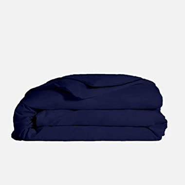 Golden Threads 100% Egyptian Cotton 1 Piece Solid Duvet Cover Queen/Full Navy Blue 1000 Thread Count with Corner Ties Soft an