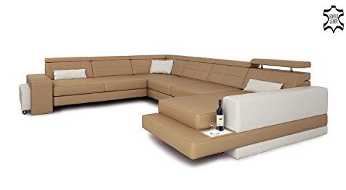 Ledersofa XXL Wohnlandschaft Leder Eck Sofa Couch Ledercouch Ecksofa U-Form mit LED-Licht Beleuchtung Designsofa IMOLA