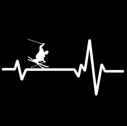 ALADKF Autoaufkleber Skifahrer Schnee Ski StöckeDrehen Herzschlag Aufkleber Vinyl Auto Aufkleber Aufkleber Für Motorhaube, Motorhaube, Dach, Kofferraum 16,8 cm * 7,8 cm 2PCS