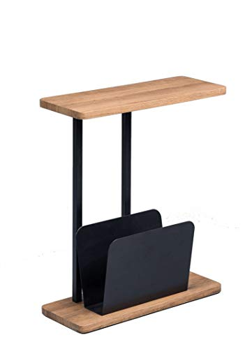 AVANTI TRENDSTORE - Giulio - Tavolino con portagiornali Integrato, in Legno Laminato e Metallo. Disponibile in Diverse colorazioni. Dimensioni Lap 50x60x20 cm (Marrone-Nero)