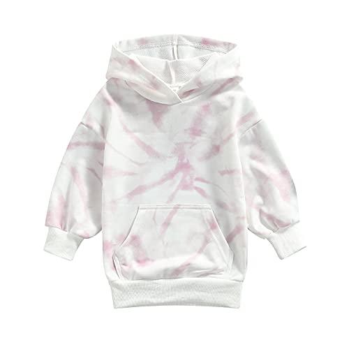 Sudadera con capucha para niños pequeños y niñas, estilo informal, de manga larga, para otoño, invierno, con bolsillo grande, rosa claro, 3-4 Años