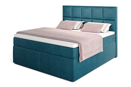 Betten Jumbo Dream Boxspringbett 180x200 mit 7-Zonen TFK Härtegrad H3 und Visco-Topper | Farbe Velour-Petrolblau | div. Größen verfügbar