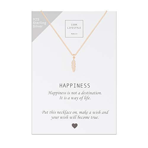 LUUK LIFESTYLE Collar de plata de ley 925 con colgante de pluma y cita Happiness, joya de mujer, tarjeta de regalo, amuleto, rosa