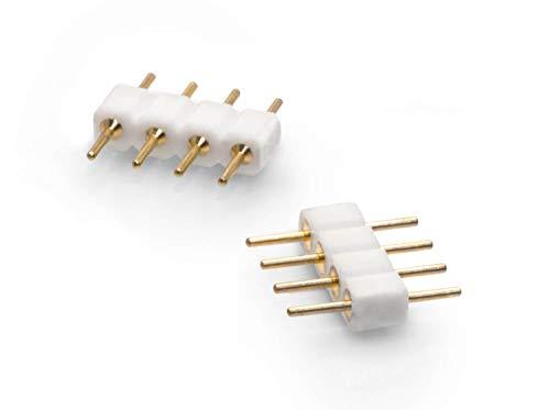 2er Pack 4 pol Pin | Kupplung | Verbinder | Stecker | Lötstift für RGB LED Streifen
