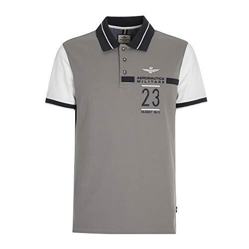 Aeronautica Militare Polo PO1419P Blanco-Gris, Piquet, Hombre Camisa, Camiseta 90841 Off White...
