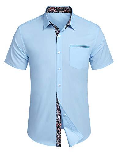 COOFANDY Herren Kurzarm Hemd Freizeithemd Paisley Shirt Regular Fit Kentkragen Baumwollmischung Hemden für Männer, Himmelblau, M