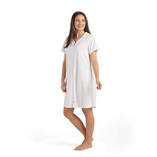 Miss Elaine Robe - Women's Terrycloth Short Robe, Short Sleeves and Two Side Pockets, Terry Zip Front (Large, White)