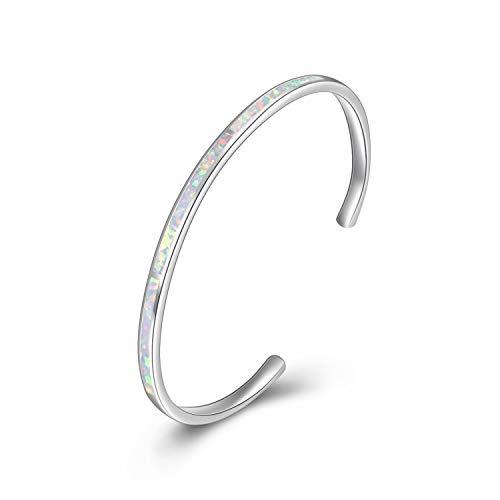 WINNICACA Weiß Feueropal Armreifen Armbänder Sterling Silber Einstellbare Armreifen Armbänder Schmuck für Frauen Muttertag Geburtstag Geschenke