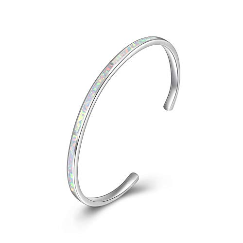 WINNICACA Weiß Feueropal Armreifen Armbänder Sterling Silber Einstellbare Armreifen Armbänder Schmuck für Frauen Geburtstag Geschenke