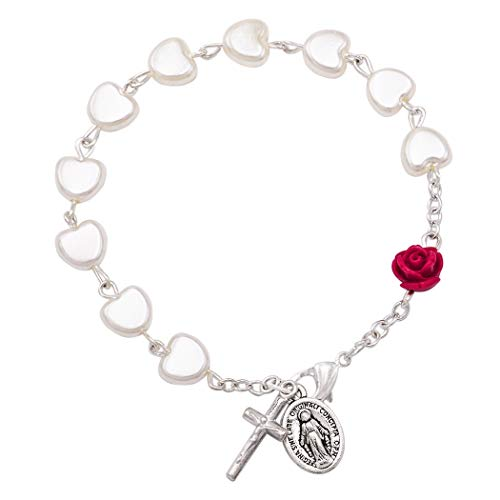 Rosemarie & Jubalee Women's Religious Heart Shaped Imitation Pearl Bead Rosary Bracelet with Red Rose, 7.5'