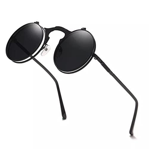 N/A Gafas de sol para Hombre Gafas de sol para Mujer Vintage Steampunk Flip Gafas de sol Retro Redondo Marco de metal Gafas de sol para hombres Mujeres Gafas circulares Ojos