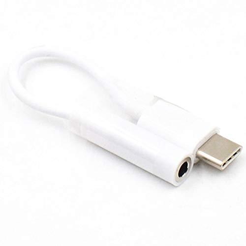Adaptador de Cable de Auriculares Mini portátil Tipo C a 3.5 mm USB 3.1 Tipo C USB-C Macho a Audio 3.5 Jack Hembra - Blanco