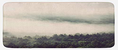ABAKUHAUS Niebla Tapete para Cocina, Las Pendientes de Hoja perenne Árboles de la montaña, con Superficie de Felpa Estampada Dorso Antideslizante, 48 cm x 120 cm, Reseda Verde Oscuro