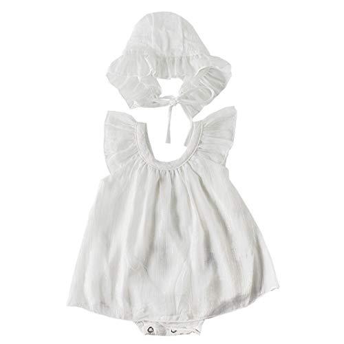 エルフ ベビー(Fairy Baby) ベビードレス セレモニードレス 帽子 女の子 新生児 ロンパース 退院 フォーマル 夏 ハット付き お宮参り 出産祝い size 80 (ホワイト)