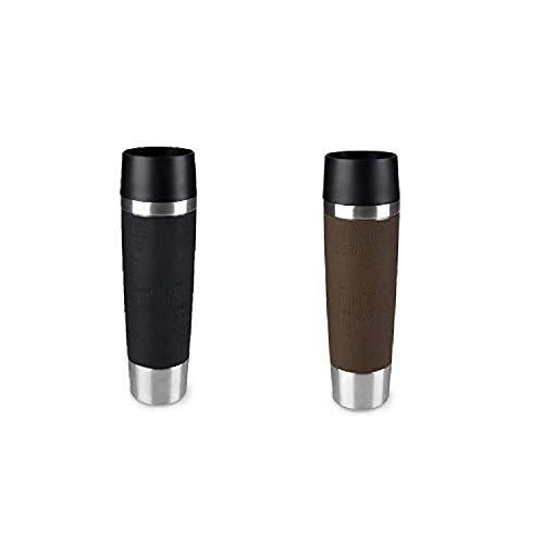 Emsa Standard-Design Travel Mugs, schwarz/braun, 2 x 500ml