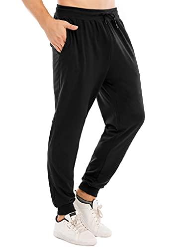 CMTOP Pantalones de Chándal de Algodón para Hombre Cintura Elástica Ajustable Pantalones Deportivos para Correr Gimnasio Fitness Jogging con Bolsillos(Negro,L)