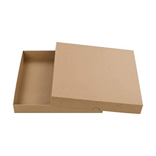 Braune Faltschachtel, Quadratisch 220 x 220 mm, Füllhöhe 30 mm, mit Deckel, Kraftpapier, Kraftkarton, Geschenkschachtel, Fotoschachtel - 10er Pack