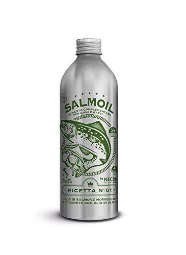 SALMOIL by NECON Pet Food Ricetta 1, Alimento complementare/Cibo per Cani e Gatti a Base di Olio di Salmone Norvegese con Olio d'Oliva da 500 ml, Ricco di Vitamina E, Omega3, Made in Italy