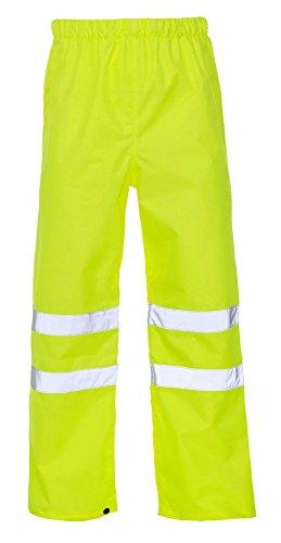 Islander Fashions High Visibility wasserdichte Hosen Herren Arbeitskleidung Reflektierende Regen Abdeckung Hosen Gelb XX Gro�